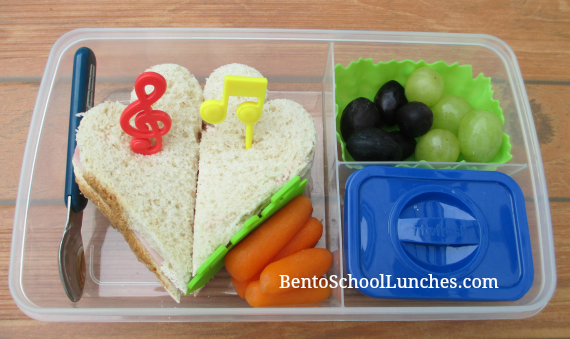 Music notes, bento school lunch