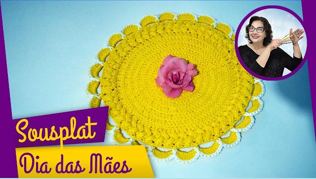 Edinir Croche ensina sousplat em crochê para o dia das mães passo a passo