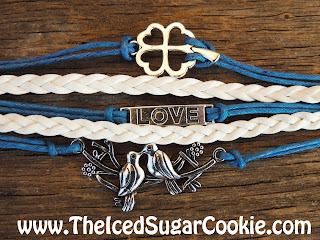 Blue And White Dove Love Clover Leather Bracelet by The Iced Sugar Cookie