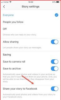 Instagram share story on Facebook