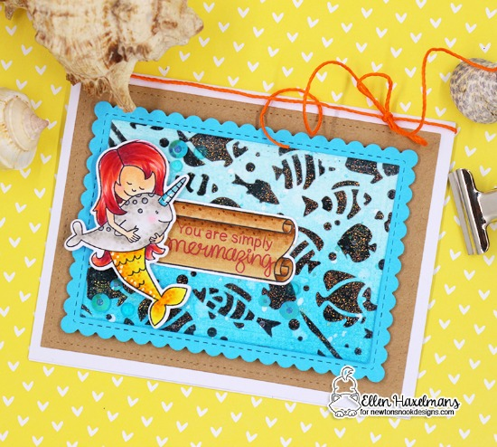 Mermaid and Narwhal card by Ellen Haxelmans | Message in a Bottle and Narly Mermaids Stamp Sets and Tropical Fish Stencil by Newton's Nook Designs #newtonsnook #handmade