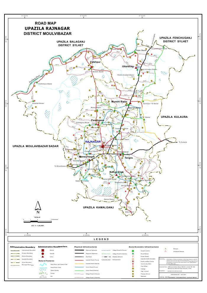 Rajnagar Upazila Road Map Moulvibazar District Bangladesh
