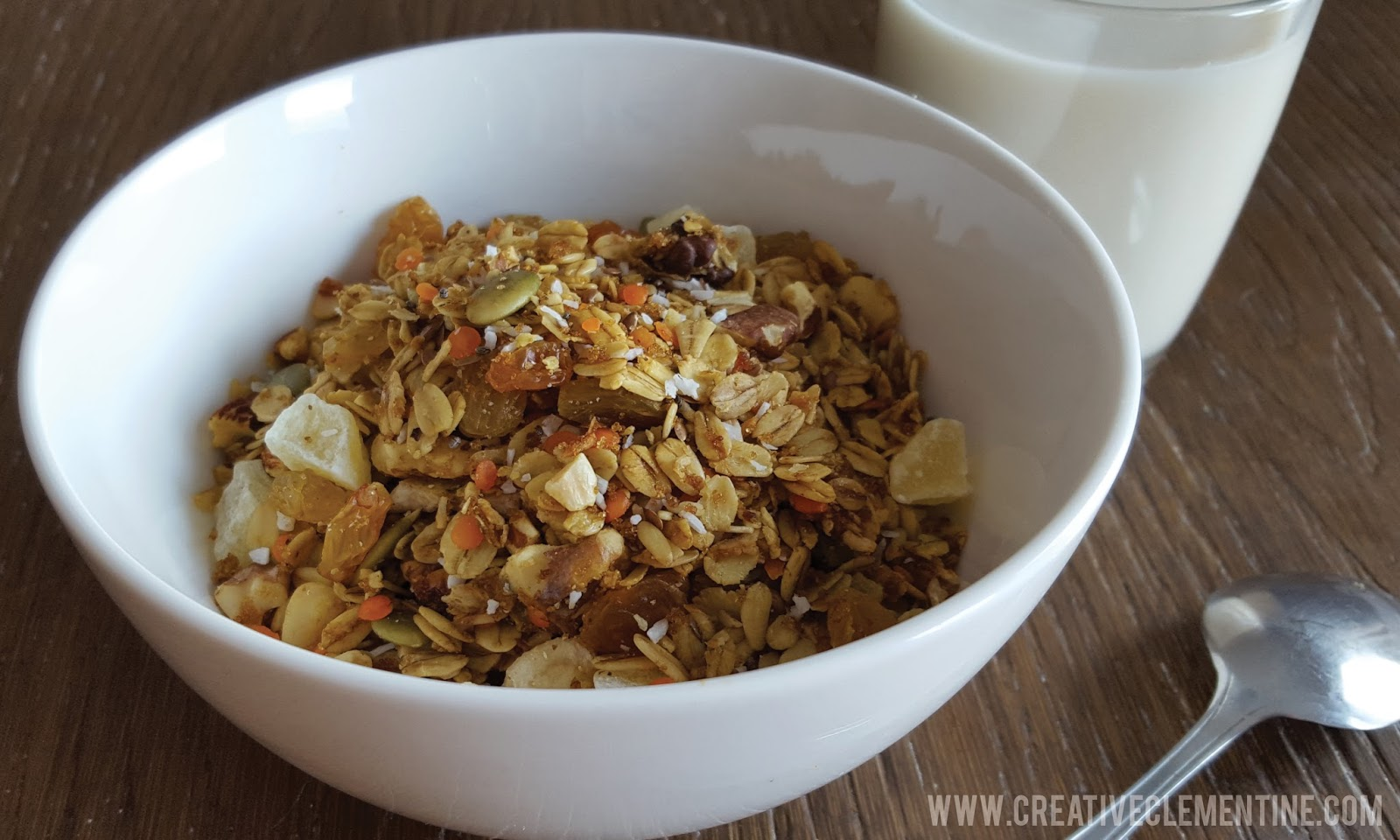 Fully loaded tropical granola recipe with cholesterol friendly ingredients