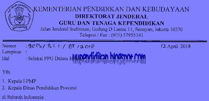 Jadwal Pretest PPG/ PPGJ Tahap II Tahun 2018 Resmi dari Dirjen GTK