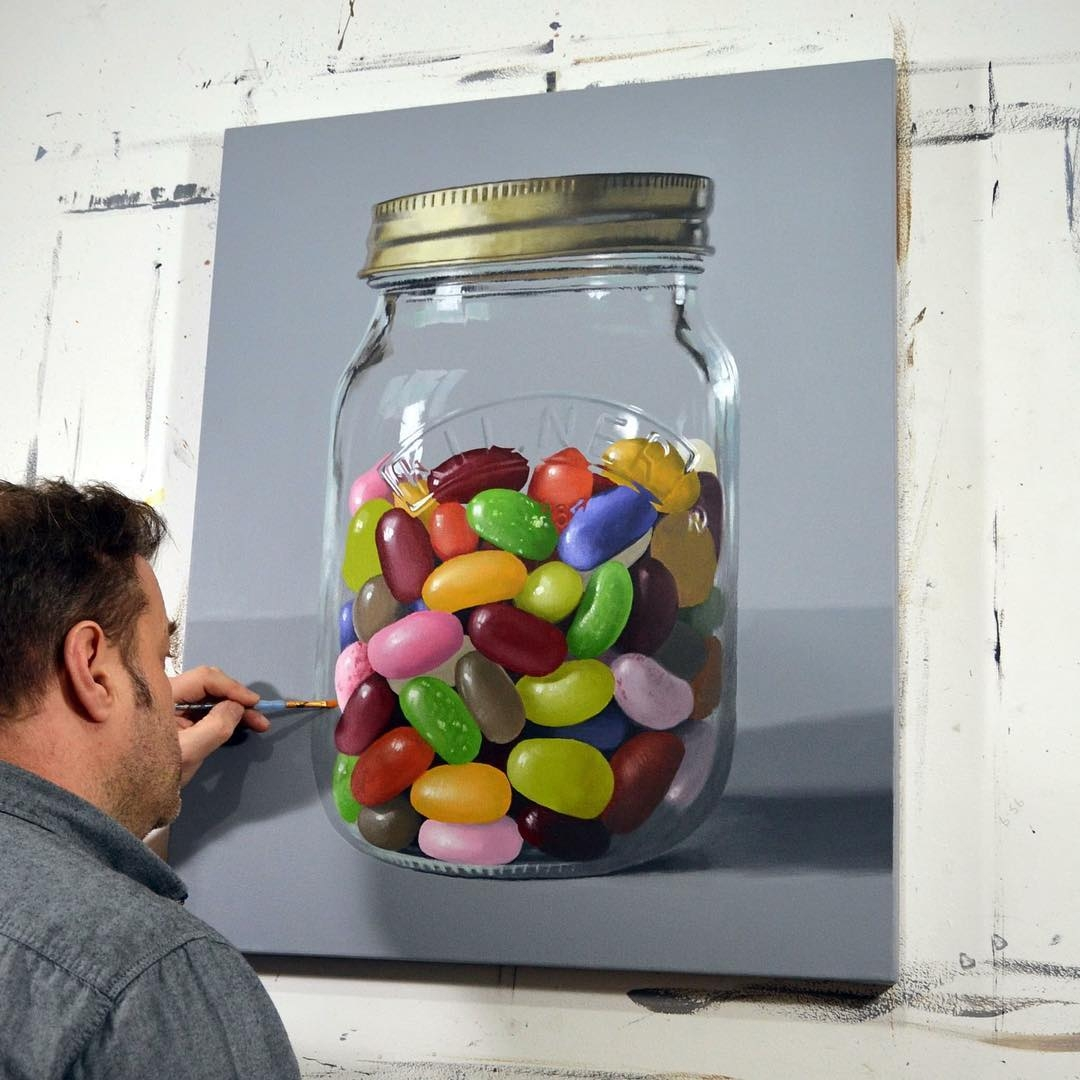 01-Jelly-Bean-Jar-Peter-Slade-Hyper-Realistic-Paintings-Acrylic-on-Canvas-www-designstack-co