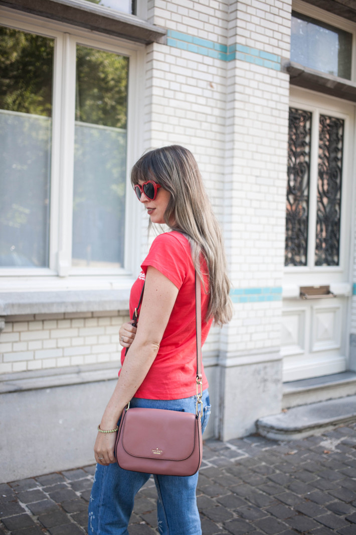 Outfit: Grey hair, feminist tee