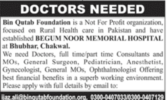 jobs in Bin Qutab Foundation Feb 2018
