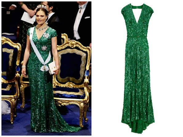 Sweden's future queen shimmered in a similar Elie Saab emerald gown, which she paired with a show-stopping tiara