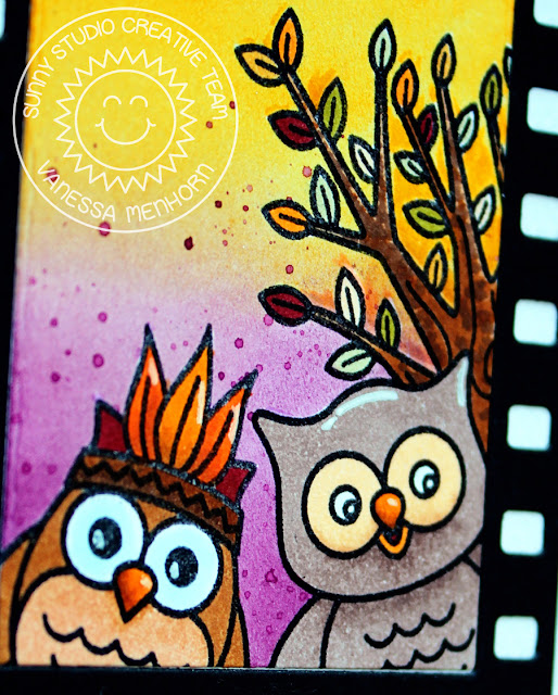 Sunny Studio Stamps: Fall Flicks Filmstrip Happy Harvest Happy Owl-O-Ween Halloween Themed Card by Vanessa Menhorn
