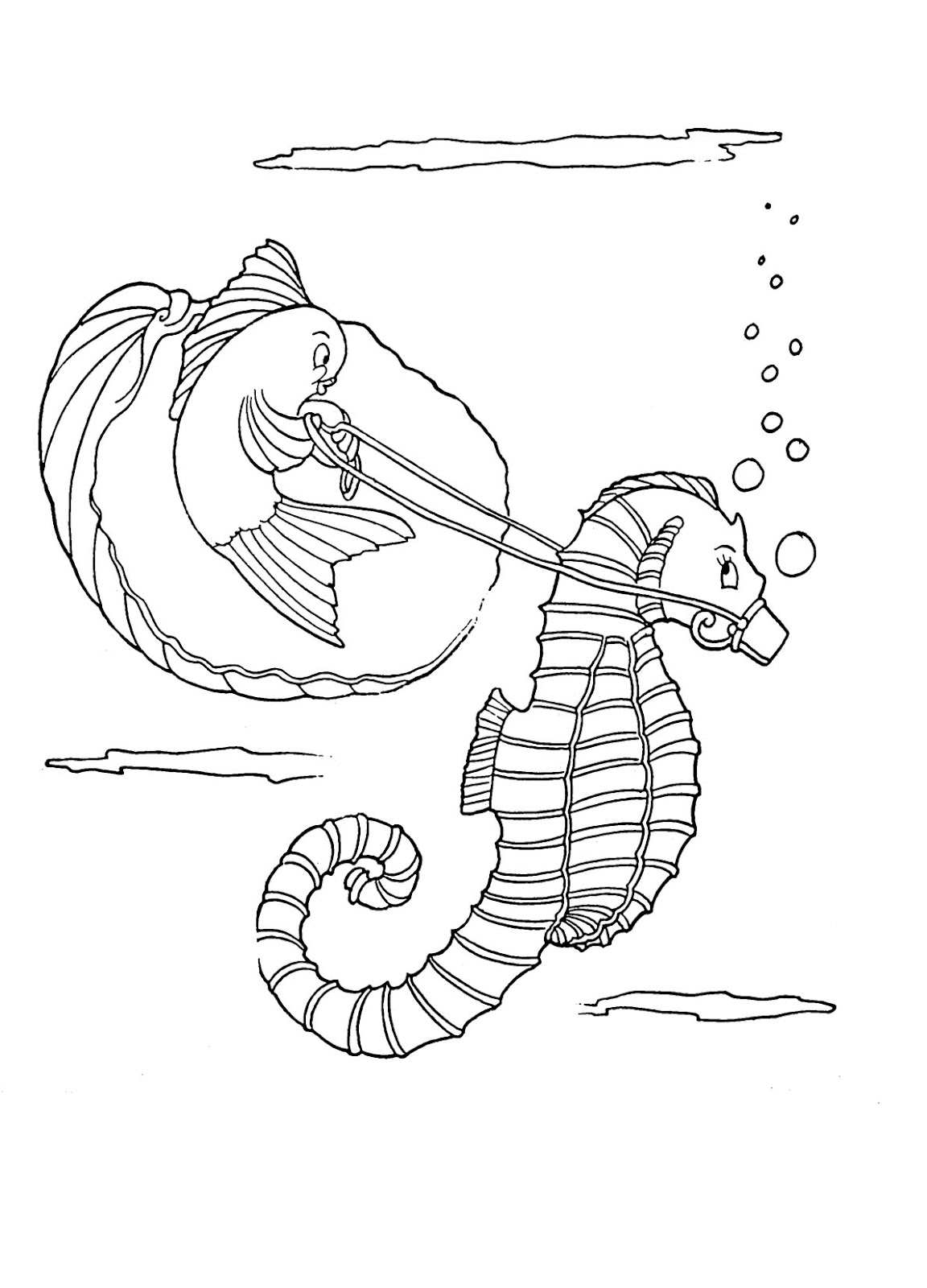 Coloring seahorse for Seahorse coloring page