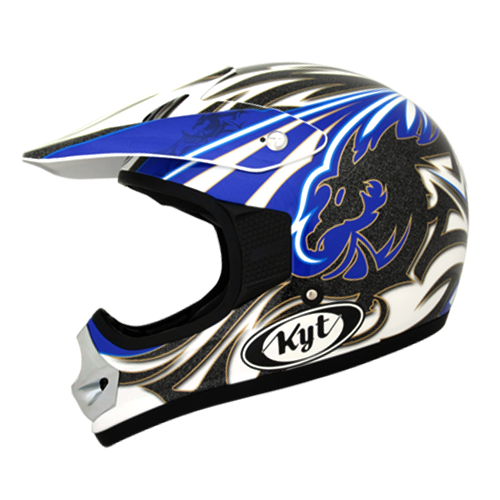 helm kyt cross pro#3 white/blue/black metalic