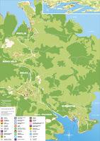 Karta Općine Selca - Selca, Povlja, Sumartin, Novo Selo, Puntinak slike otok Brač Online