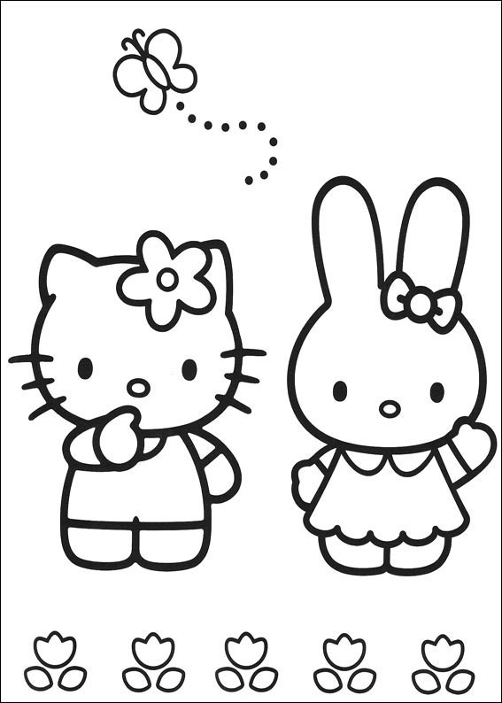 printable coloring pages hello kitty friendship | Hello Kitty and Friends Coloring Pages - Slim Image