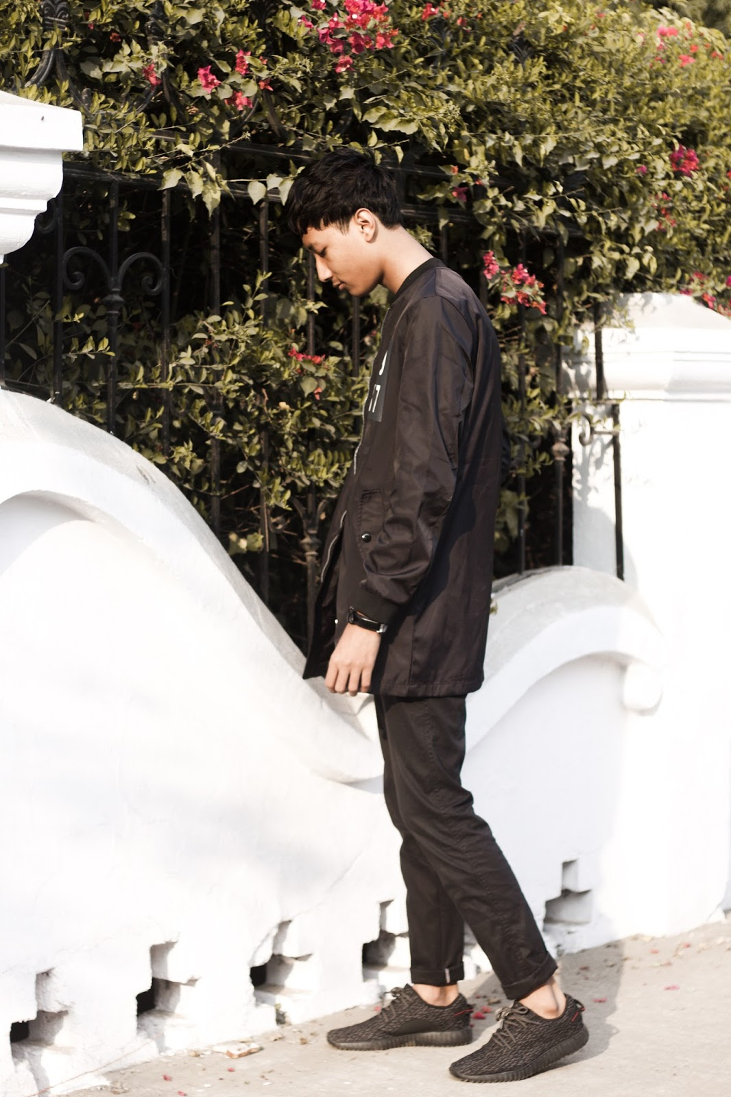 TheQuirkyMinimal by Kangkan Rabha Indian Menswear fashion blog Wearing Sammy Dress Jacket & Sneakers, Jabong Trousers, and Thrifted Beige Tee
