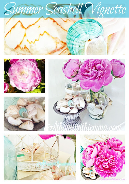 decorating your home by using a vase with seashells, flowers and seashells, peonies and seashells