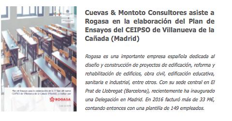 Trabajo contratado por Rogasa por el que les asistiremos en la elaboración de un Plan de Control de Calidad y Ensayos conforme al Código Técnico de la Edificación en una obra en Madrid.