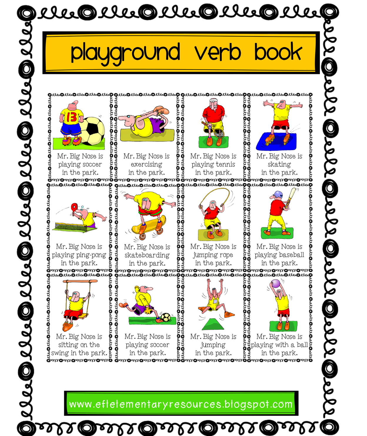 Efl Elementary Teachers Playground Recess Park Verbs