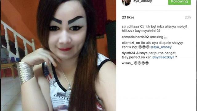 Wanita Ini Dihujani Berbagai Pernyataan dari Para Netizen, Karena Paras Alisnya Yang Nyentrik. Coba` Intip!
