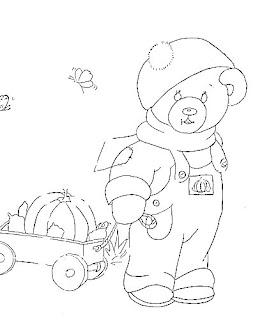 risco de ursinho puxando trem de madeira 1