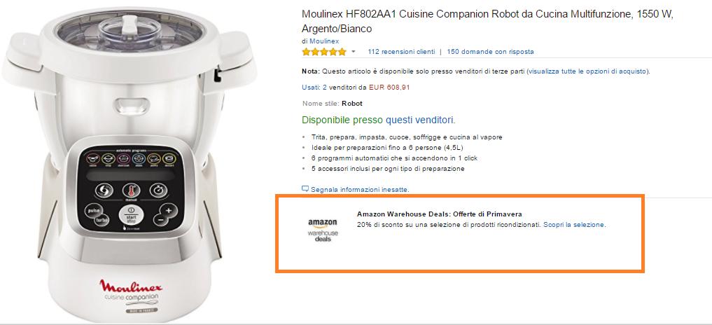 Offerta su Amazon Warehousedeals : sconto 20%