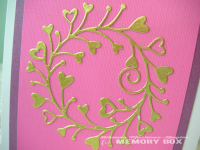 A CAS valentine's Wreath card detail