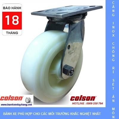 Bánh xe đẩy càng inox 304, bánh xe Nylon tải từ 295kg đến 450kg/bánh www.banhxepu.net