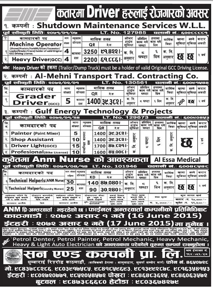 Job Vacancy in Qatar for Drivers Salary Up to 47,040