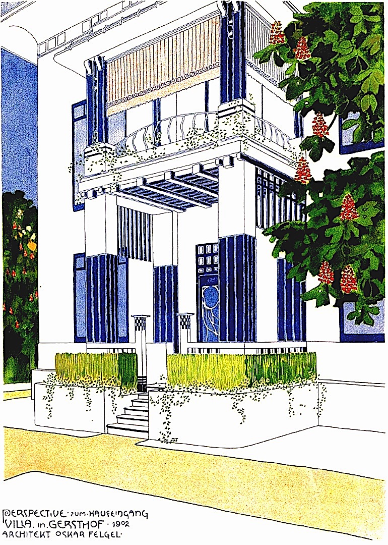 1902 secession architecture, a color drawing of Perspective zum Haufeingang Villa by Oskar Felgel