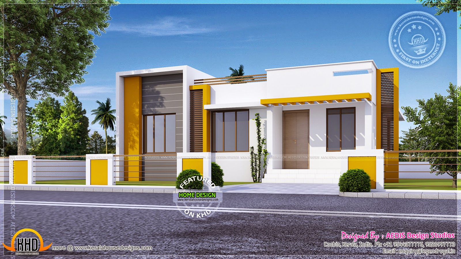 Cute flat roof which is a single floor home kerala home for Single floor house designs tamilnadu