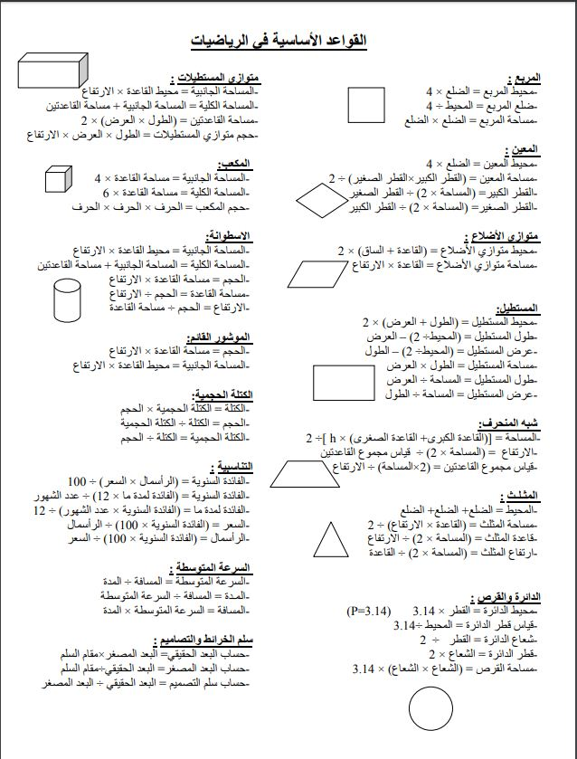 القواعد الأساسية في الرياضيات - دروس الرياضيات مستوى السادس ابتدائي