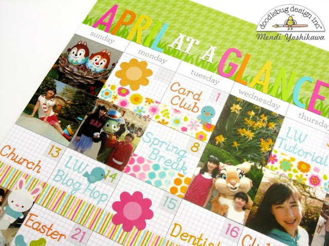 Doodlebug Design Daily Doodles Planner April Calendar Page Layout by Mendi Yoshikawa