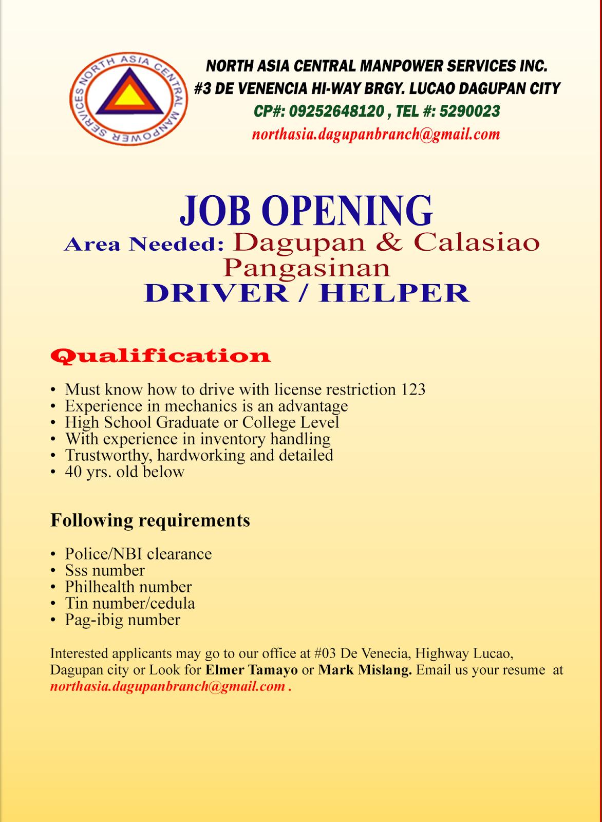 Job Opening Dagupan