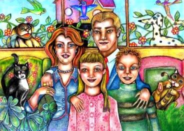 Dibujo de una familia a colores y con animales