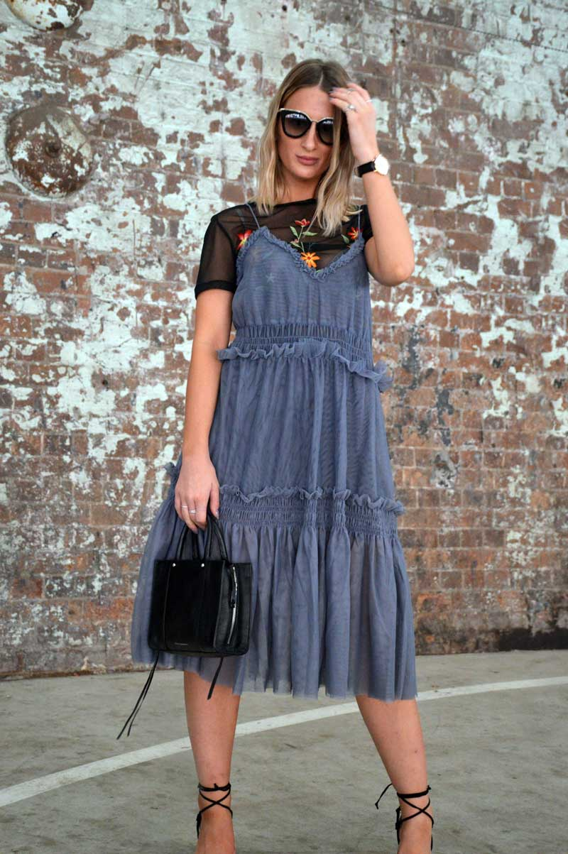 MBFWA fashion week street style day 1 ruffle dress over floral embroidered t shirt with rebecca minkoff bag and prada cinema sunglasses