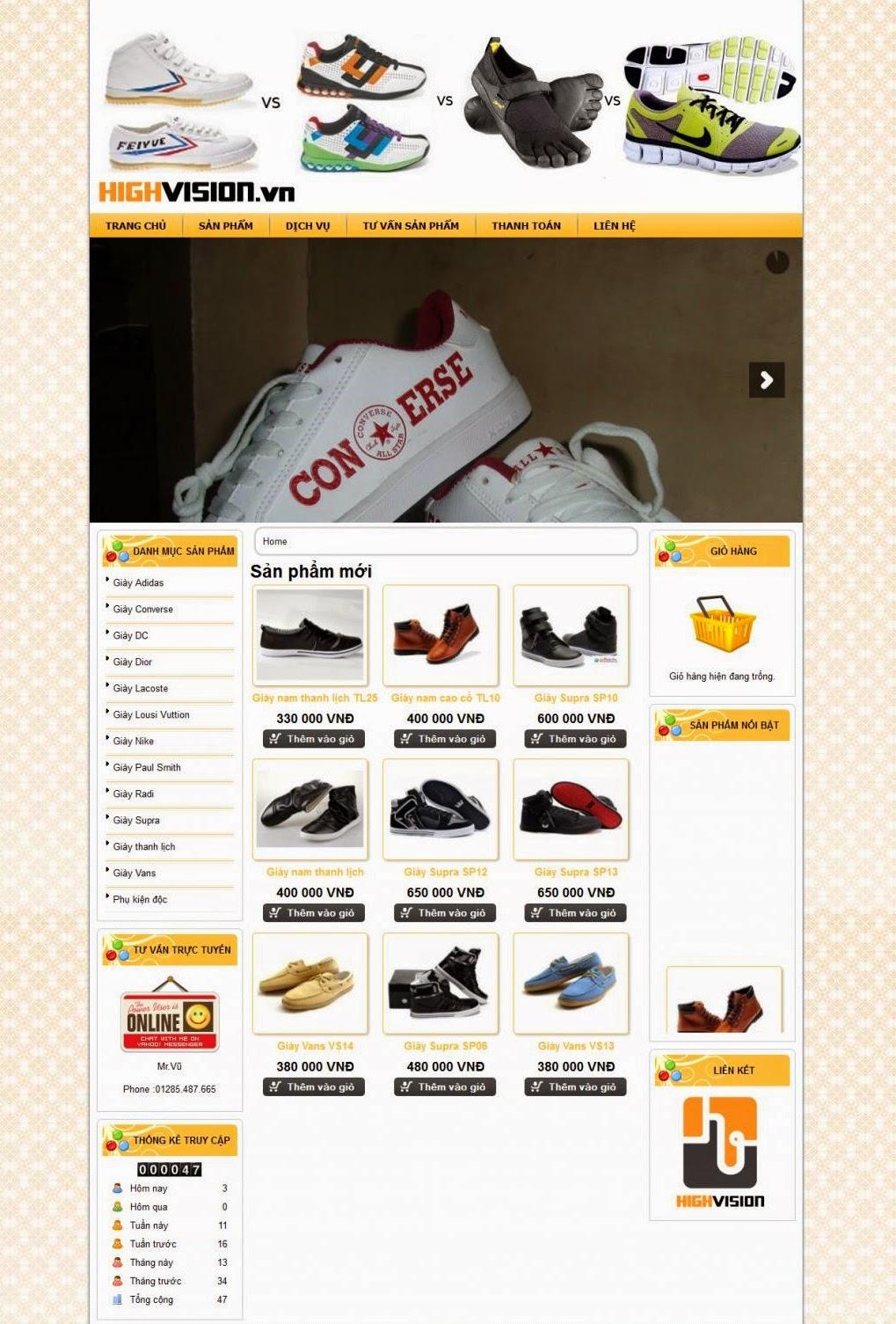 thiết kế web bán hàng giầy thể thao chuyên nghiệp