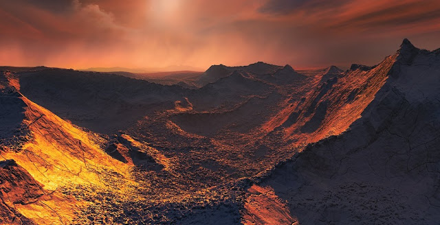 Artist's impression of the surface of a super-Earth orbiting Barnard's Star. Credit: ESO/M. Kornmesser