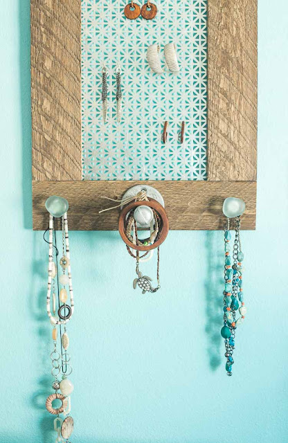DIY Rustic Glam Jewelry Organizer featured at Talk of the Town