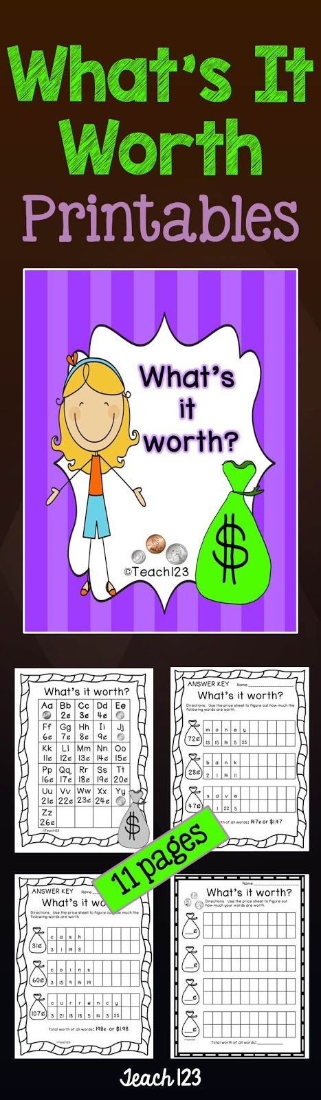 Teach 123 Money What's It Worth Printables at TeachersPayTeachers