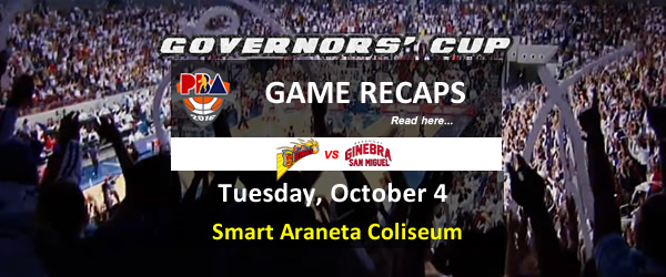 List of PBA Game Tuesday October 4, 2016 @ Smart Araneta Coliseum
