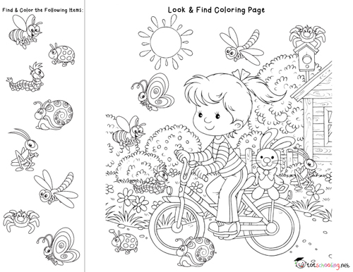 fun learning for kids: Look & Find Coloring Pages for