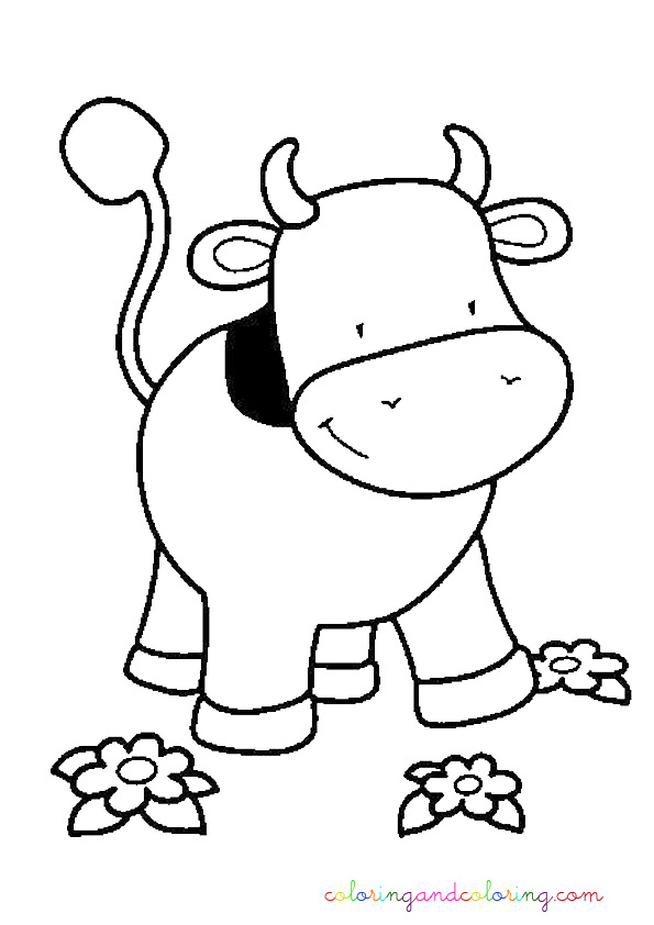Free coloring pages of calf cow cartoon