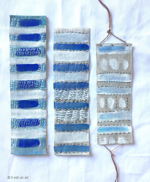 bandes textiles brodées bleues
