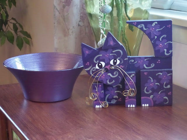 whimsical purple cat and purple bowl