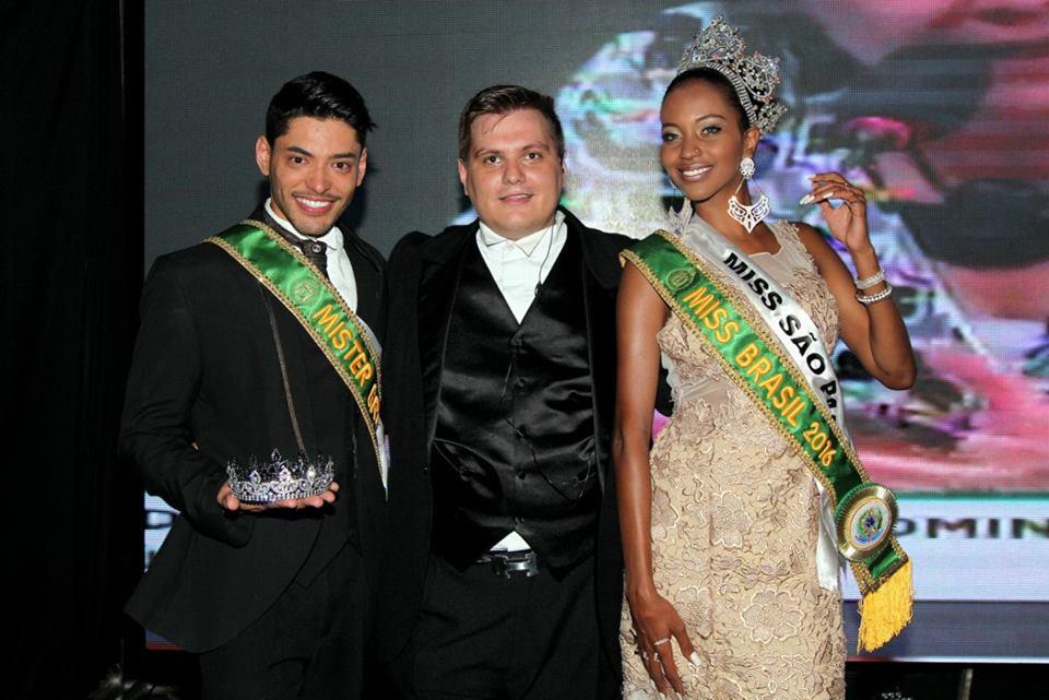 O Mister e a Miss Brasil 2016 ao lado de Thiago Michelasi, presidente do concurso  Foto: Salani Antônio