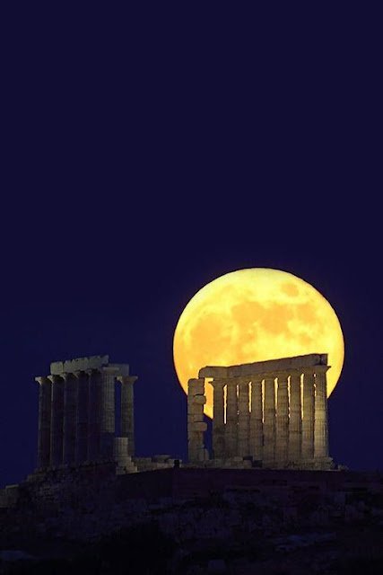 Full moon over the Temple of Apollo Sounion Greece