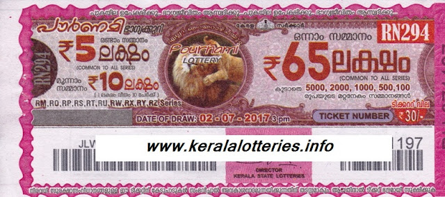 Kerala lottery result_Pournami (RN-294) on July 02; 2017