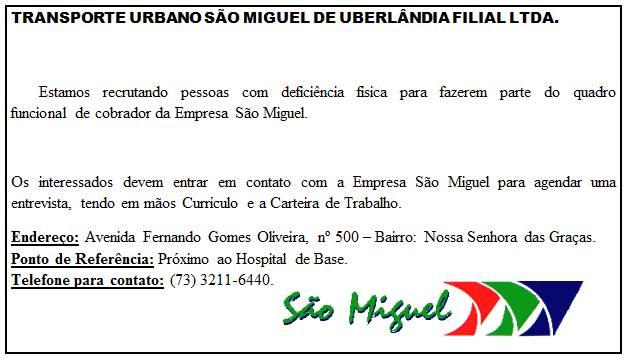 Vagas de emprego na São Miguel