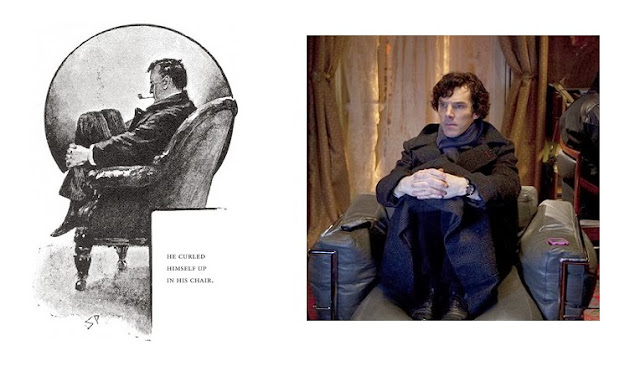 Benedict Cumberbatch as Sherlock Holmes in Sidney Paget drawing Arthur Conan Doyle The Adventure of the Red Headed League