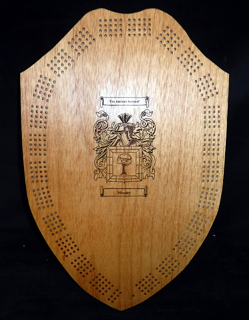 Splinters Woodworks: Custom Badge Shaped Cribbage Board