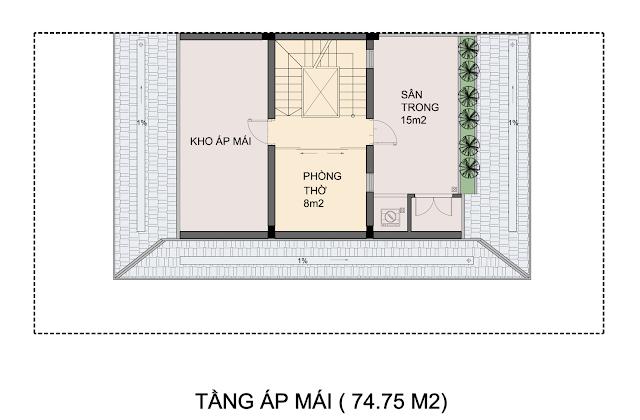 Biệt thự mẫu P1-2 tầng áp mái